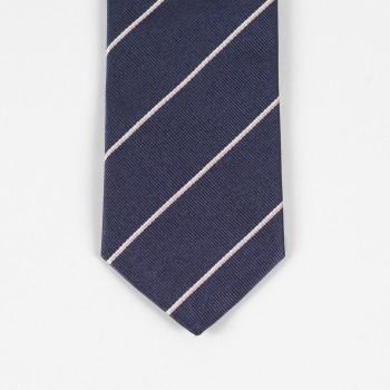 Cravate Soie Rayures Club : Marine/Blanc/Rose pâle
