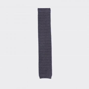 Cravate Tricotée Soie: Gris/Gris clair