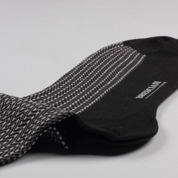Chaussettes Mi-Bas Fil d'Ecosse Chevrons: Noir/Gris