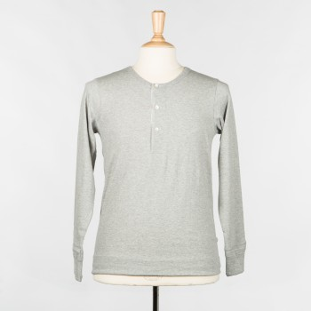 T-shirt Henley manches longues 206: Gris chiné