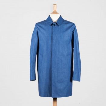 LINEN-CHAMBRAY OVERCOAT : DENIM BLUE