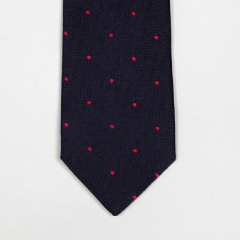 Cravate Soie Jacquard à Pois : Marine/Rouge