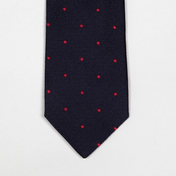 SILK JACQUARD Tie DOTS : NAVY/RED