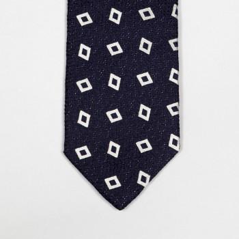 Cravate Soie Tissée Losange Art Déco: Marine/Blanc