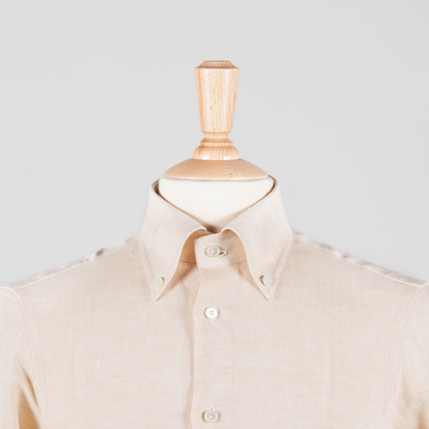 Button-Down Linen Shirt : Cream - Beige Habilleur