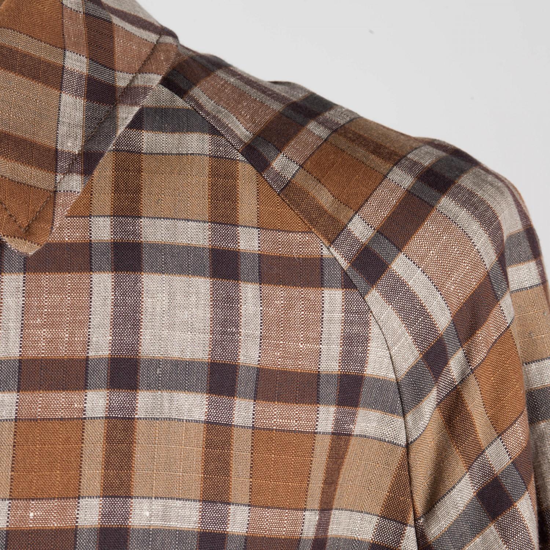 pardessus coton et lin carreaux marron gris clair beige habilleur. Black Bedroom Furniture Sets. Home Design Ideas