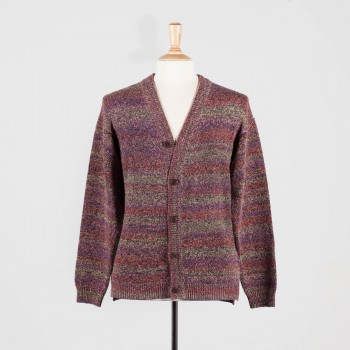 Cardigan Coton et Soie : Marron/Violet/Brique