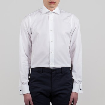 Chemise Col Italien : Blanche
