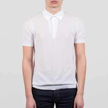 Polo Manches Courtes Coton Texturé : Blanc