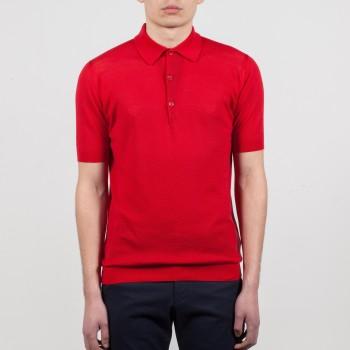 Polo Manches Courtes Coton Texturé : Rouge