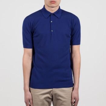 Polo Manches Courtes Coton Texturé : Bleu