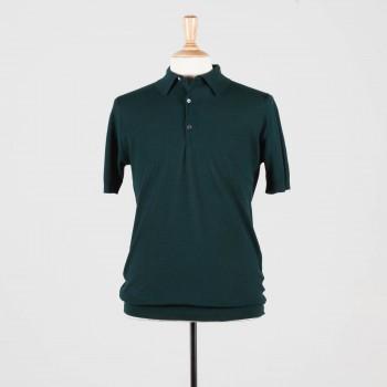 Polo Manches Courtes Coton Texturé : Vert Anglais