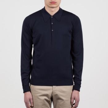 Polo Manches Longues Coton : Bleu Marine
