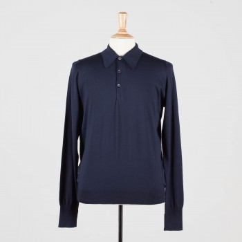 Long Sleeves Cotton Polo Shirt: Navy