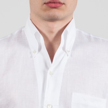 Chemise Col Lido Lin: Blanc