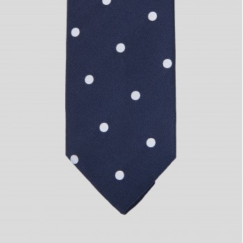 Spot Woven Jacquard Silk Tie : Navy/White