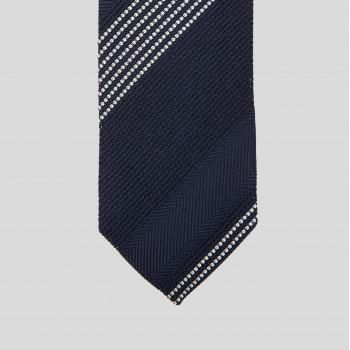 Stripe Grenadine Tie : Navy/Off White