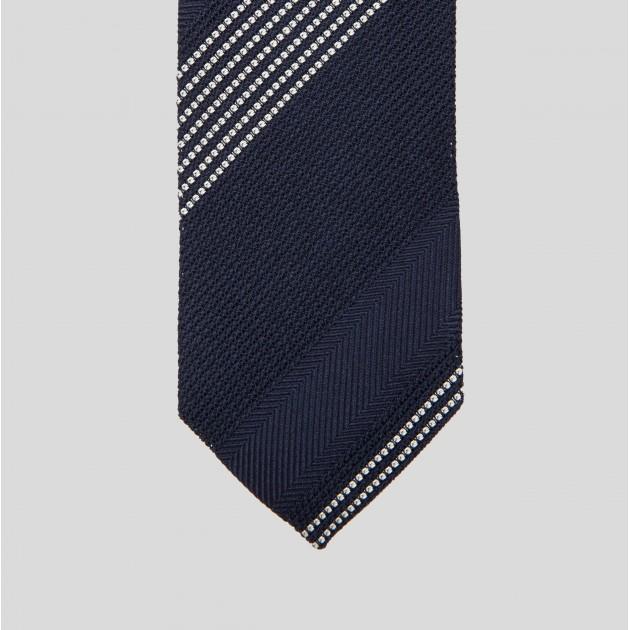 Cravate Rayures Grenadine de Soie : Marine/Ecru
