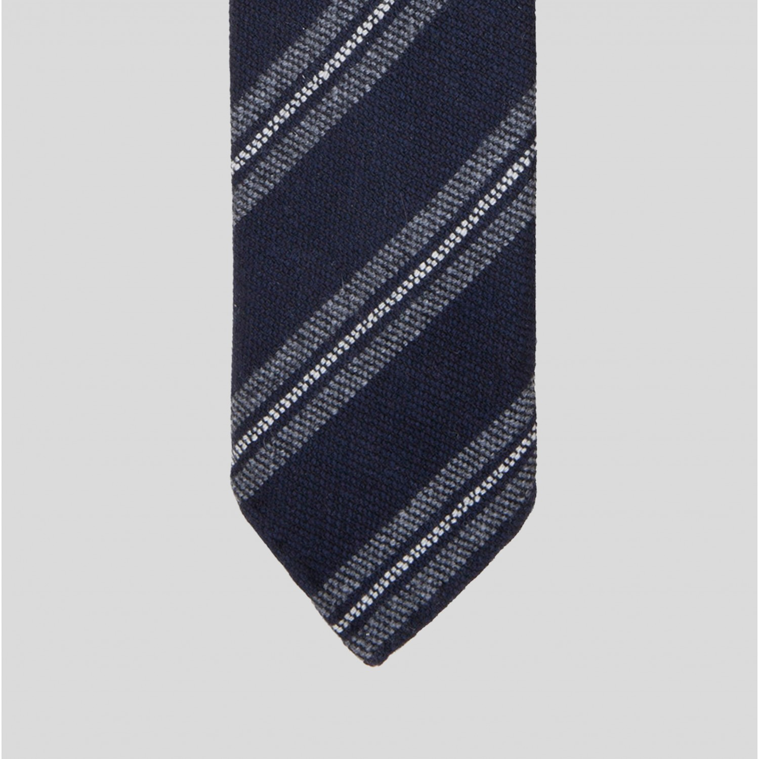 stripe woven wool tie navy grey white beige