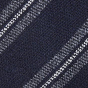 Cravate Rayures Club Laine : Marine/Gris/Blanc
