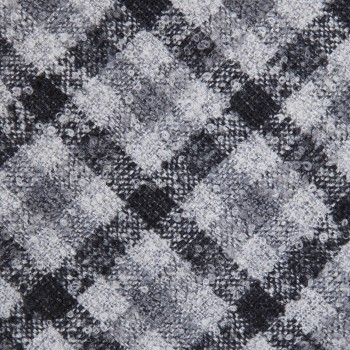 Cravate Carreaux Laine : Anthracite/Gris/Blanc