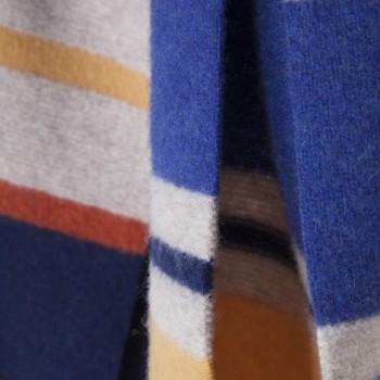 Écharpe « UNIVERSITÉ » Lambswool : Ecru/Bleu/Jaune/Rouge