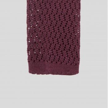 Cravate Tricotée Zigzag : Bordeaux