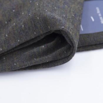 Chaussettes Mi-Bas Laine À Pois : Kaki/Gris