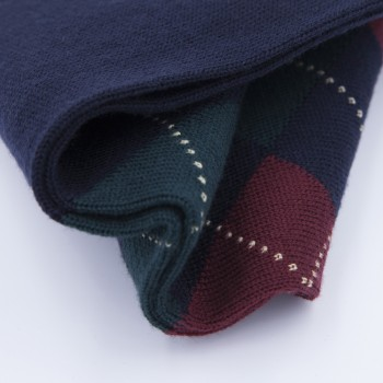 Argyle Short Socks : Navy/Red/Green