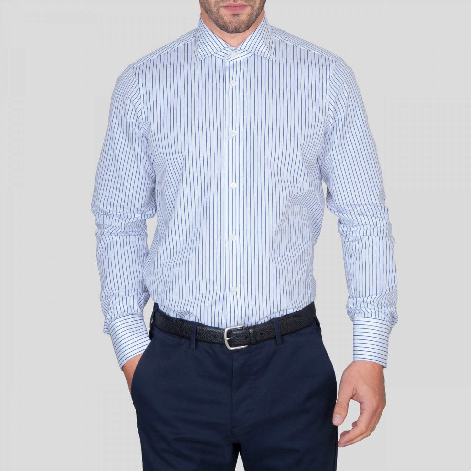 G inglese stripe spread collar shirt white blue for What is a spread collar shirt