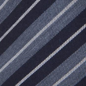Cravate Laine & Soie Rayures Club : Bleu/Blanc