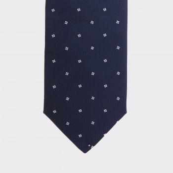 Cravate Soie Carré De Pois: Marine/Blanc