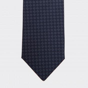 Cravate Soie Carré : Marine/Blanc