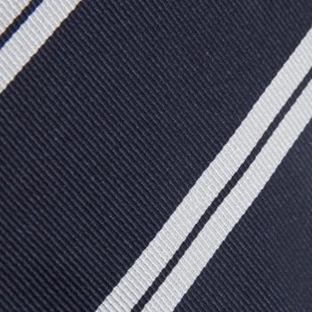 Cravate Soie Rayures Club : Marine/Blanc