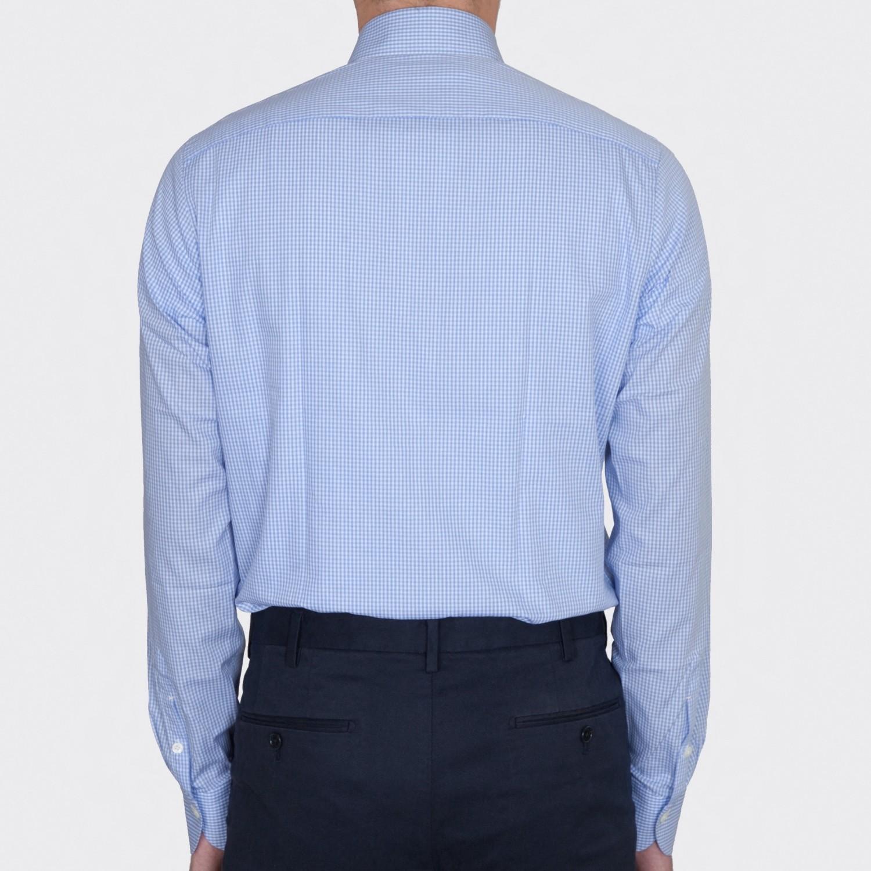 chemise col rond carreaux vichy bleu ciel beige habilleur. Black Bedroom Furniture Sets. Home Design Ideas