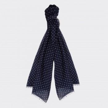 Foulard Coton Et Soie Imprimé Pois : Marine/Blanc