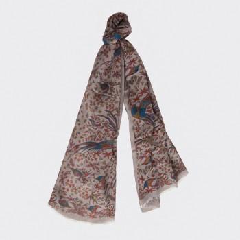 Foulard Coton, Modal, Soie Imprimé  : Gris/Rouille