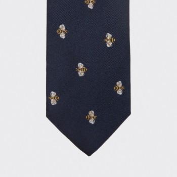 Cravate Motif Abeille :  Marine