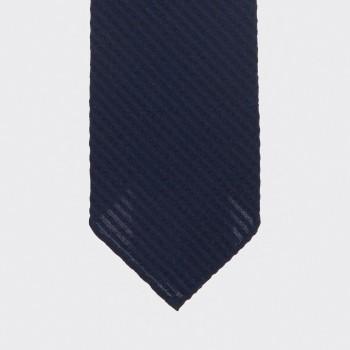 Cravate Seersucker Laine Et Soie :  Marine