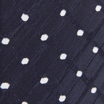 Cravate Pois Jacquard Soie Et Lin :  Marine/Blanc