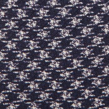 Cravate Pied-De-Poule Coton Lin :  Marine/Blanc Cassé