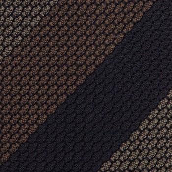 Cravate Rayures Grenadine De Soie :  Marine/Taupe/Marron