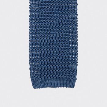 Cravate Soie Tricotée Soie : Bleu Denim