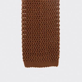 Cravate Soie Tricotée Soie : Cognac