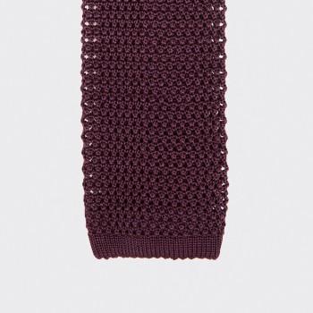 Cravate Soie Tricotée Soie : Bordeaux