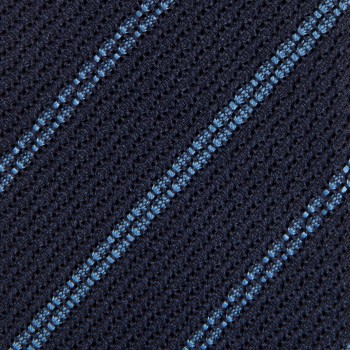Cravate Grenadine De Soie Rayures : Marine/Bleu Ciel