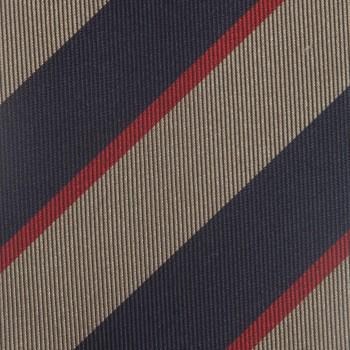 Cravate Club Soie :  Marine/Taupe/Rouge