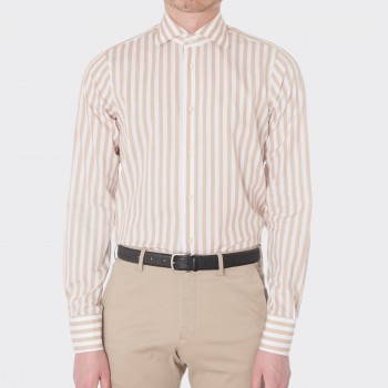 Chemise Col Itlalien Larges Rayures : Blanc/Marron Clair
