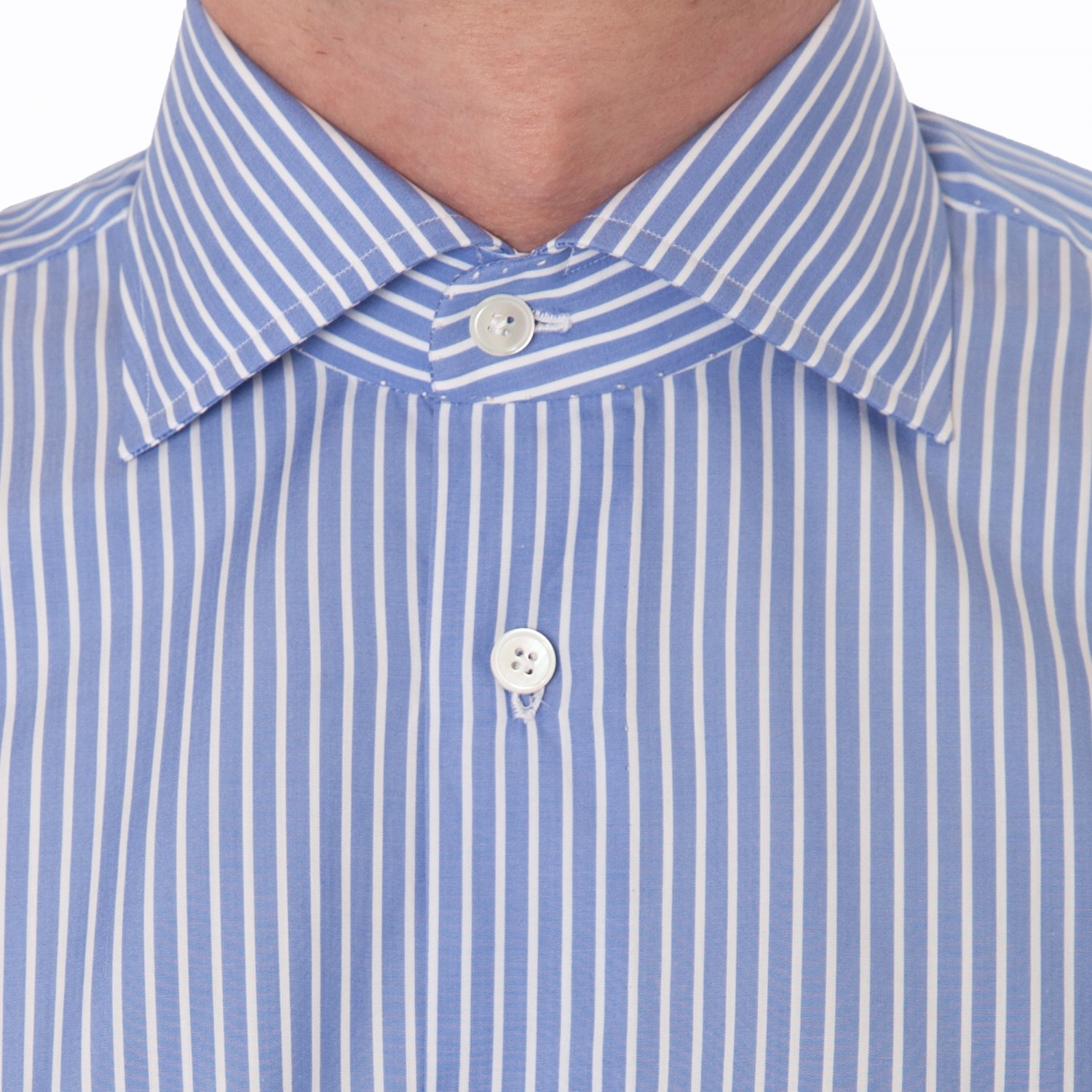 Stripes spread collar shirt blue white beige habilleur for Blue and white striped shirt with white collar