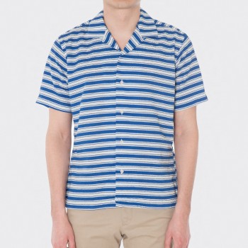 Seersucker Open Collar Shirt : White/Royal Blue